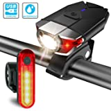 Bike lights Set USB Rechargeable, ITSHINY LED Bike light Front and back Bicycle Light Set Waterproof - Super Bright Headlight Red Taillight Combinations Easy To Install for Kids Men Women Road Cycling Safety Flashlight