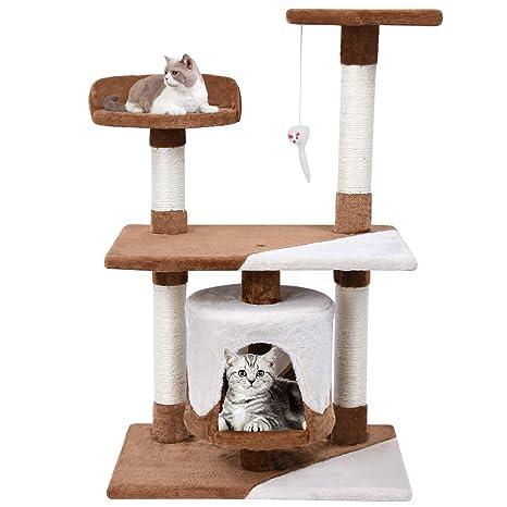 MC Star Árbol para Gato con Rascador de 95cm,Arañazo Juguete de Gatos de Sisal