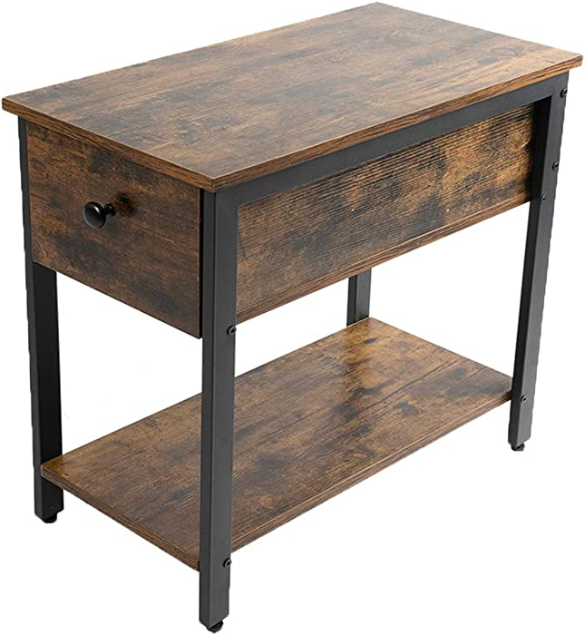 JPNTOYE End Table, 2-Tier Nightstand with Drawer, Narrow Beside Table for Small Spaces, Stable and Sturdy Construction, Wood Look Accent Furniture with Metal Frame, Rustic Brown