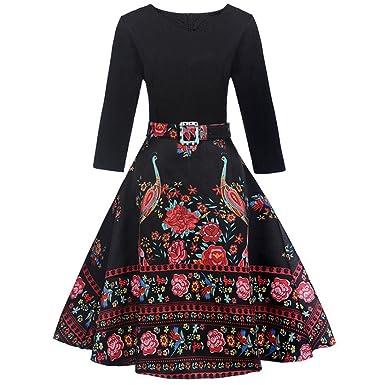 Damen Kleider, GJKK Damen Mode Retro Vintage Rockabilly Kleid Floral ...