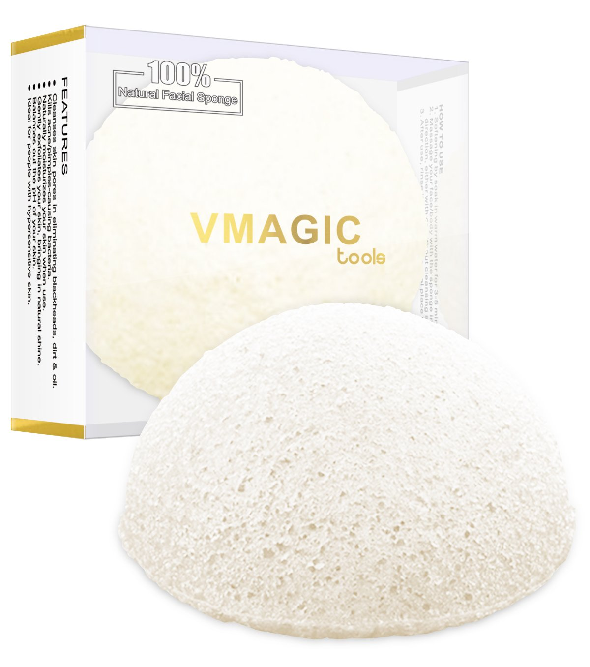 VMAGIC bambú natural Konjac Esponja - Unidades 100% Natural, fibra de verduras para la mejor Limpieza Facial Belleza: Amazon.es: Belleza