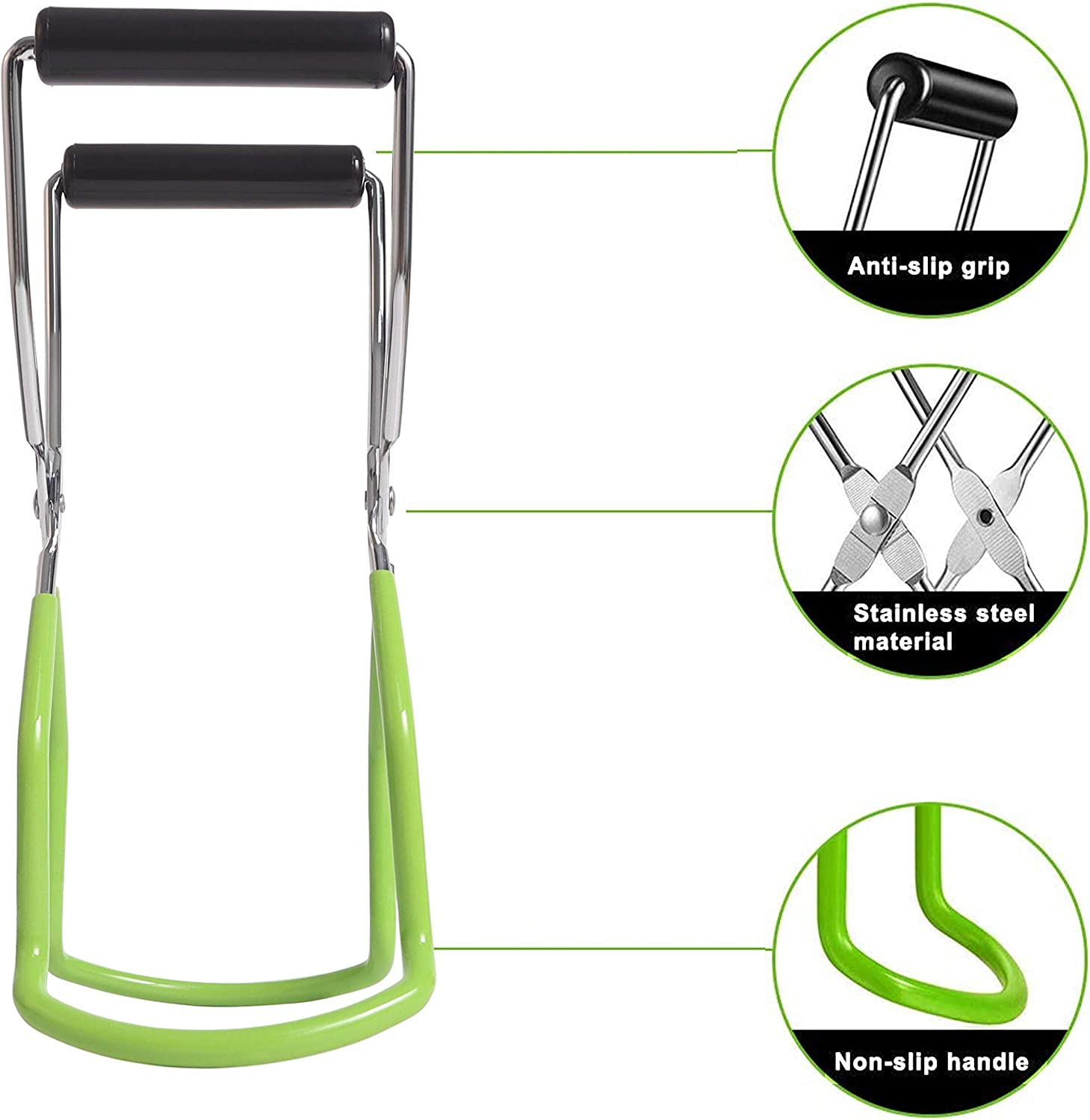 2 Pack Canning Jar Lifter Tongs Stainless Steel Jar Grips with Rubber Grip Handle for Safe and Secure Cans Clamp for Home Kitchen Dining Dinner Restaurant Jars Green, 2