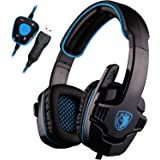 SADES SA901 7.1 Surround Sound Stereo Pro PC USB Gaming Headsets Headband Headphones with Microphone Deep Bass Over-the-Ear Volume Control For PC Gamers(Blue)