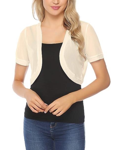 e93f7469b45 Aiboria Women Short Sleeve Sheer Chiffon Shrug Open Front Bolero Cardigan  Apricot