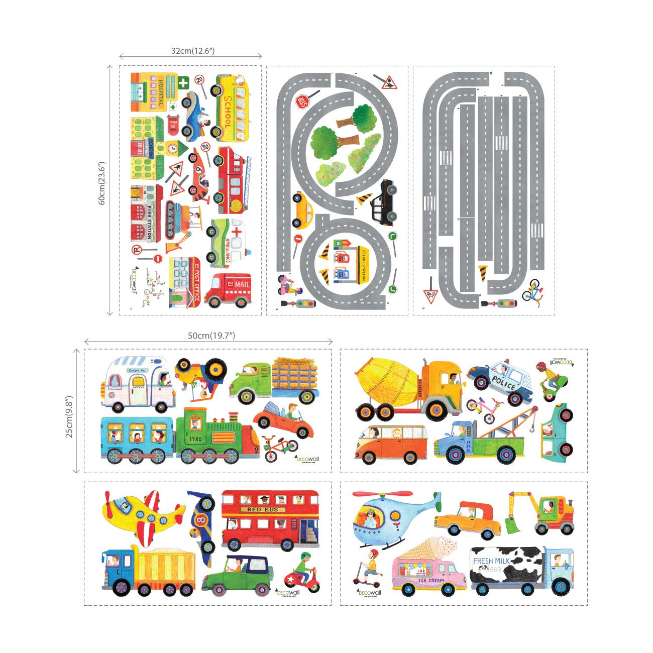 Decowall DAT-1404P1405 The Road and Transports Kids Wall Decals Wall Stickers Peel and Stick Removable Wall Stickers for Kids Nursery Bedroom Living Room by Decowall (Image #8)