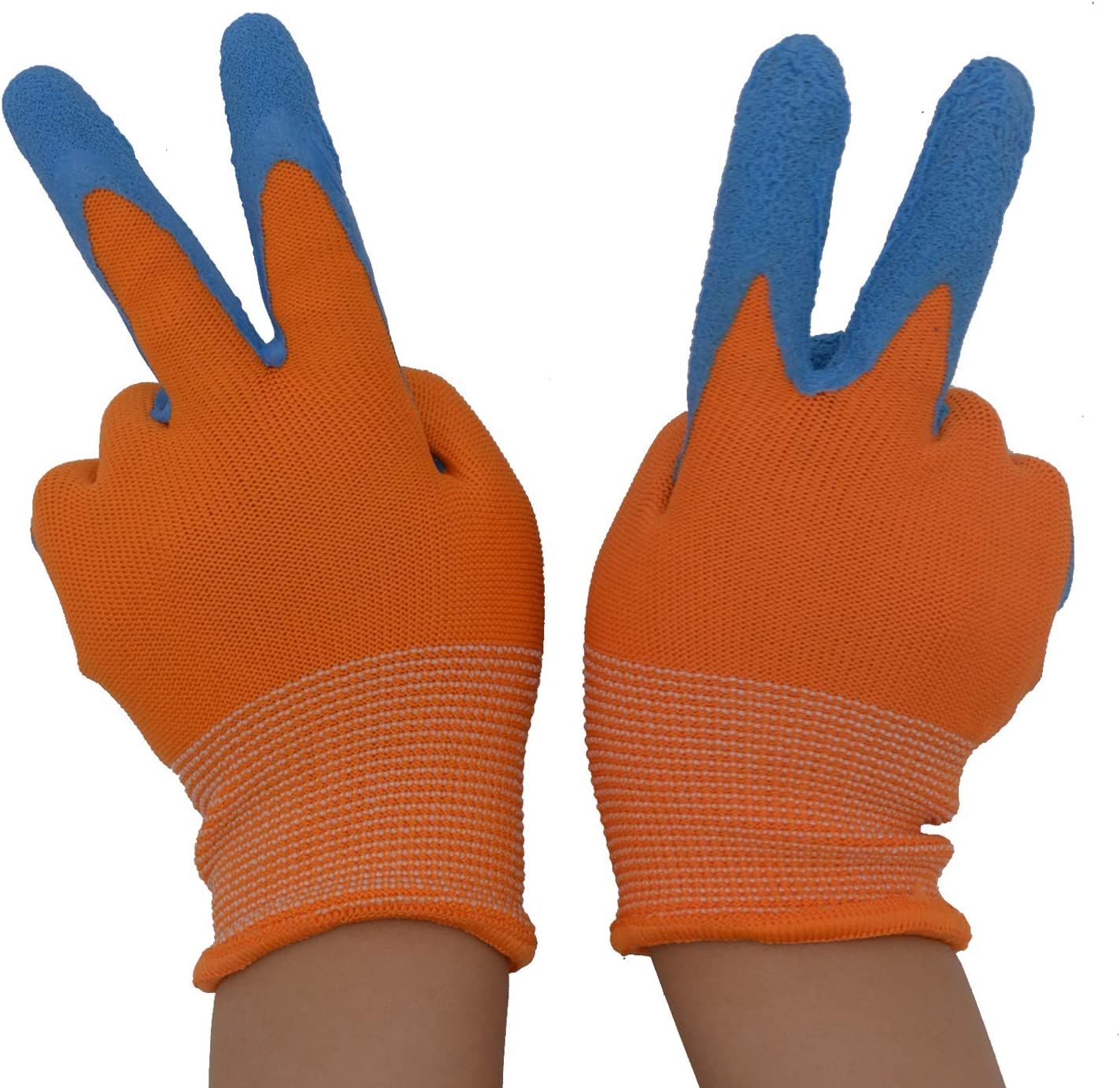 XS 2 Pairs Kids Garden Gloves for age 2-3 age 8-10 age 4-5 Foam Rubber Coated Gardening and Work Gloves for Girls Boys age 6-13