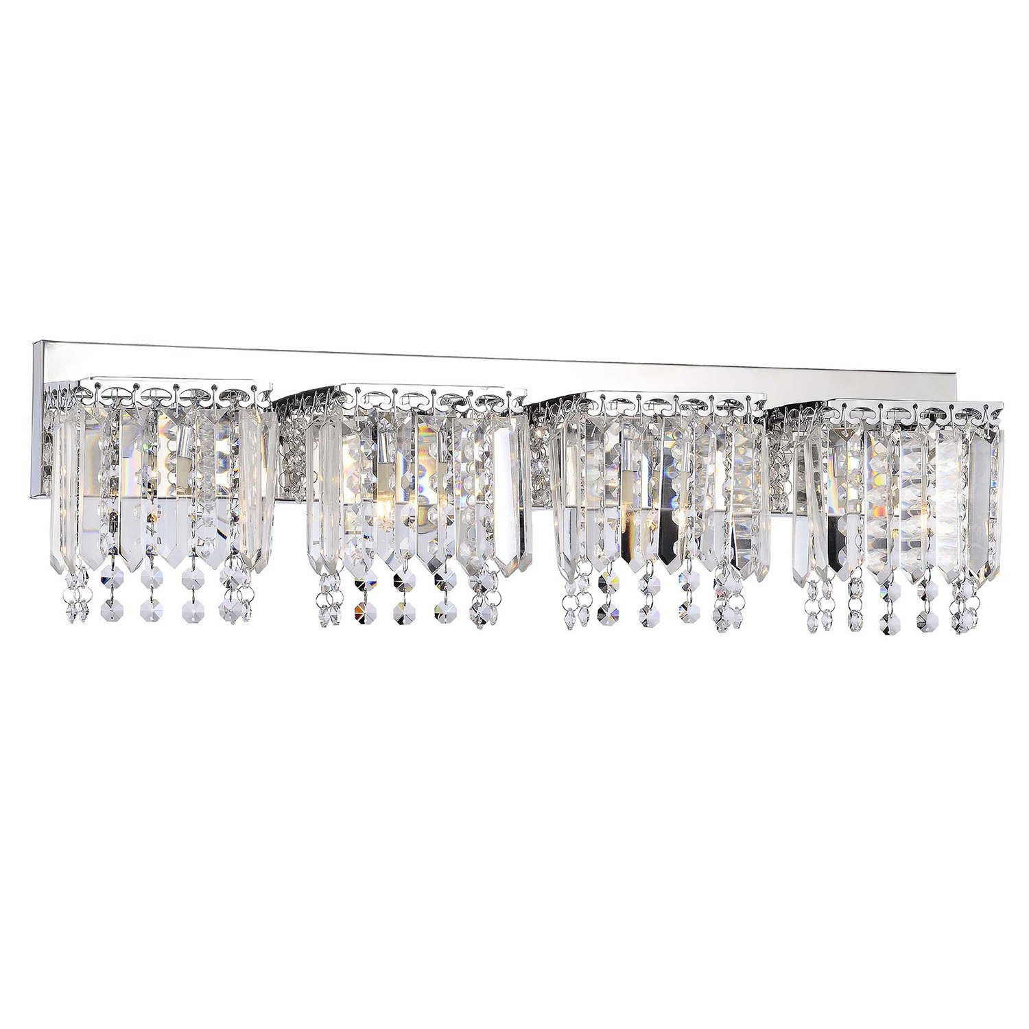 Evelyn 4-light Chrome Finish Crystal Strand Wall Sconce by Jojospring