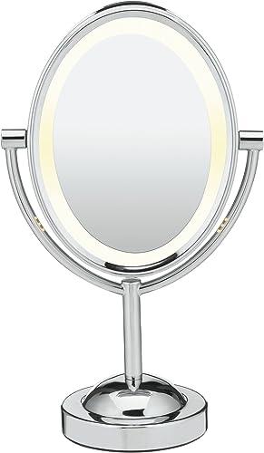 Conair Oval Double-Sided Lighted Makeup Mirror, Chrome