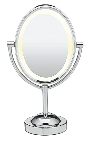 conair oval shaped doublesided lighted makeup mirror 1x7x polished - Lighted Vanity Mirror