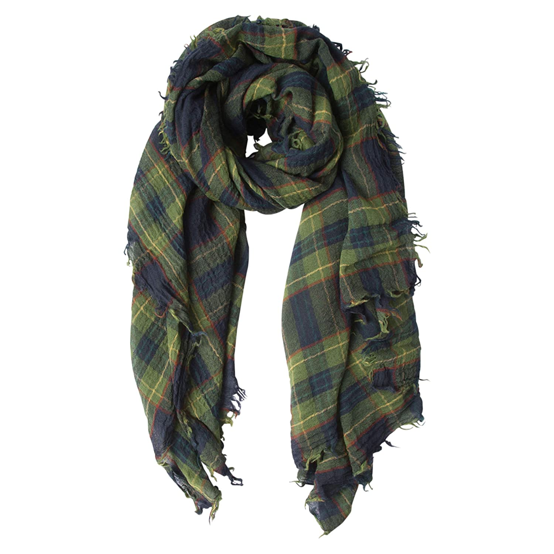 Chan Luu Combo Plaid Print Wool Scarf in Total Eclipse Green