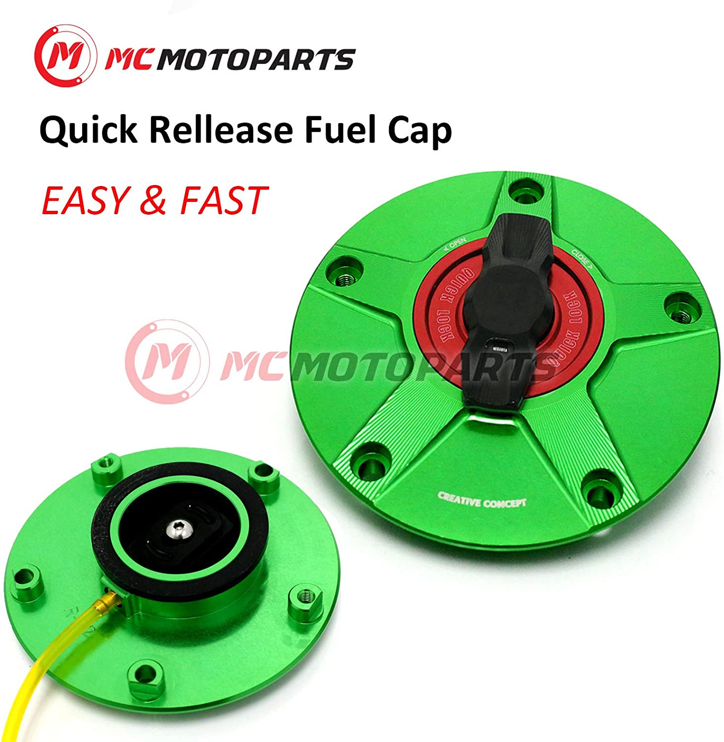 NIMBLE Red CNC Quick Lock Fuel Gas Cap For Kawasaki Ninja 650R 2006-2016
