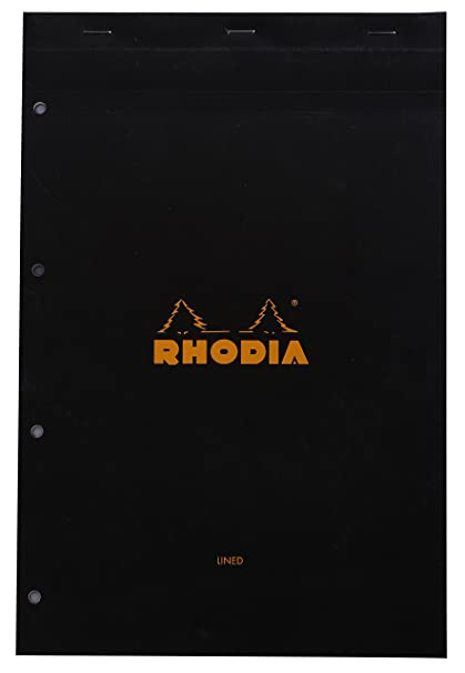 Rhodia 206009C - Papel perforado para archivador (80 hojas, 21 x 31,8 cm, 4 agujeros), color negro