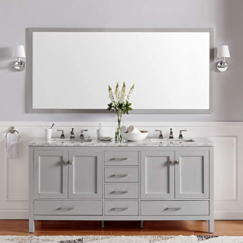 Eviva EVVN412-72GR Aberdeen 72 inch Gray Transitional Double White Carrara Marble Countertop and Undermount Porcelain Sinks Bathroom Vanitie
