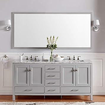 Amazon Com Eviva Evvn412 72gr Aberdeen 72 Inch Gray Transitional Double White Carrara Marble Countertop And Undermount Porcelain Sinks Bathroom Vanities 72 Grey Furniture Decor