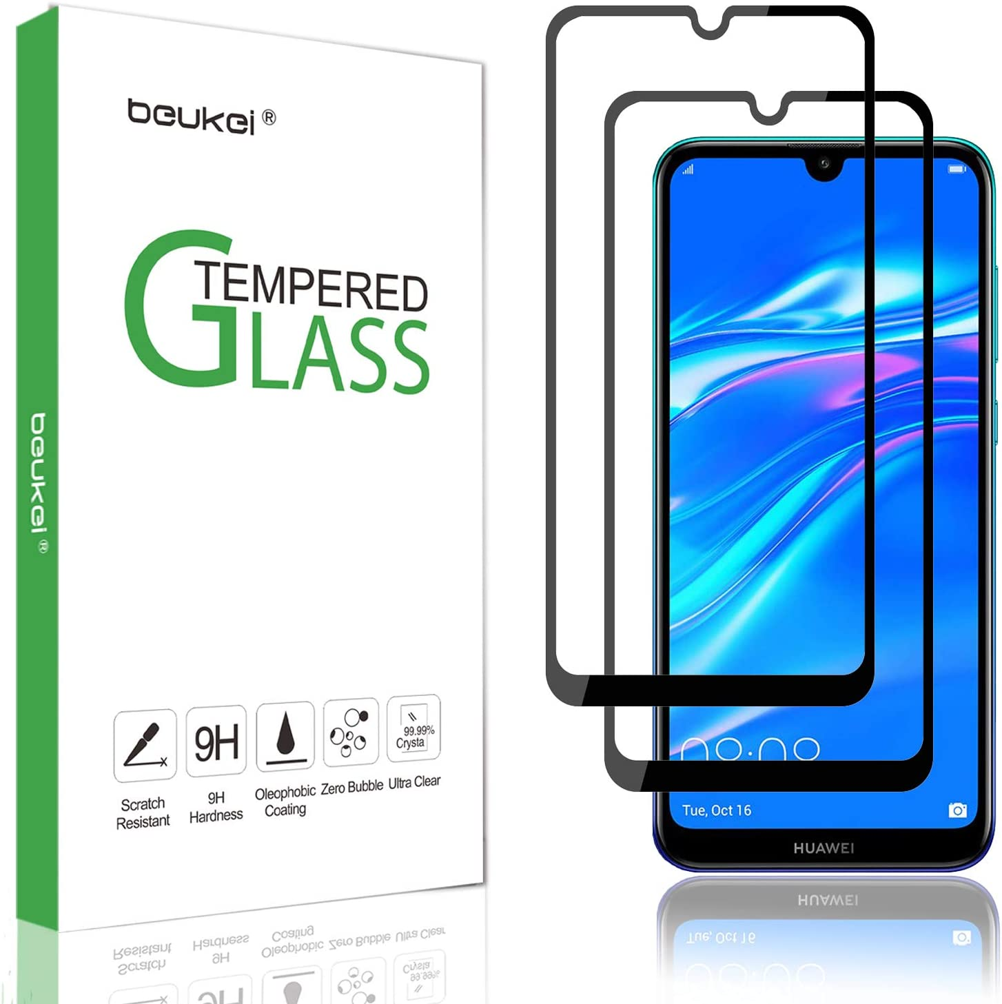 (2 Pack) Beukei for Huawei Y7 2019 and Y7 Pro 2019 and Huawei Y7 Prime (2019) Screen Protector Tempered Glass,Full Screen Coverage, Anti Scratch, Bubble Free