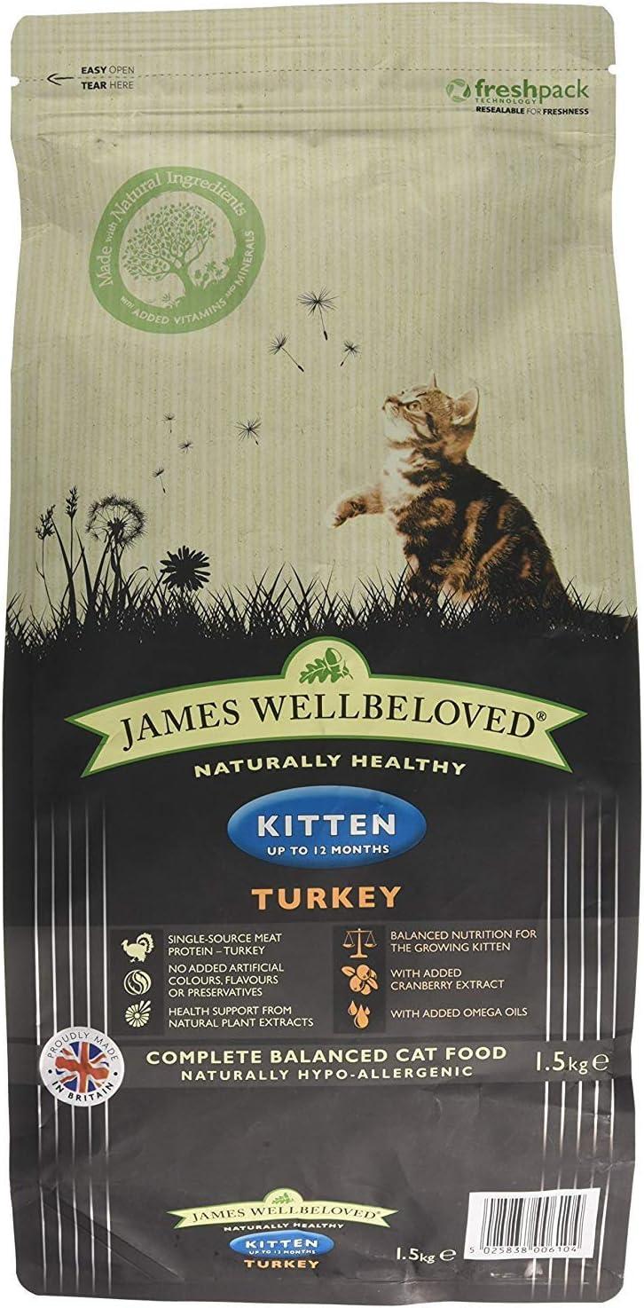 James Wellbeloved Alimento seco Completo para Gatitos Pavo y arroz, 3 Libras
