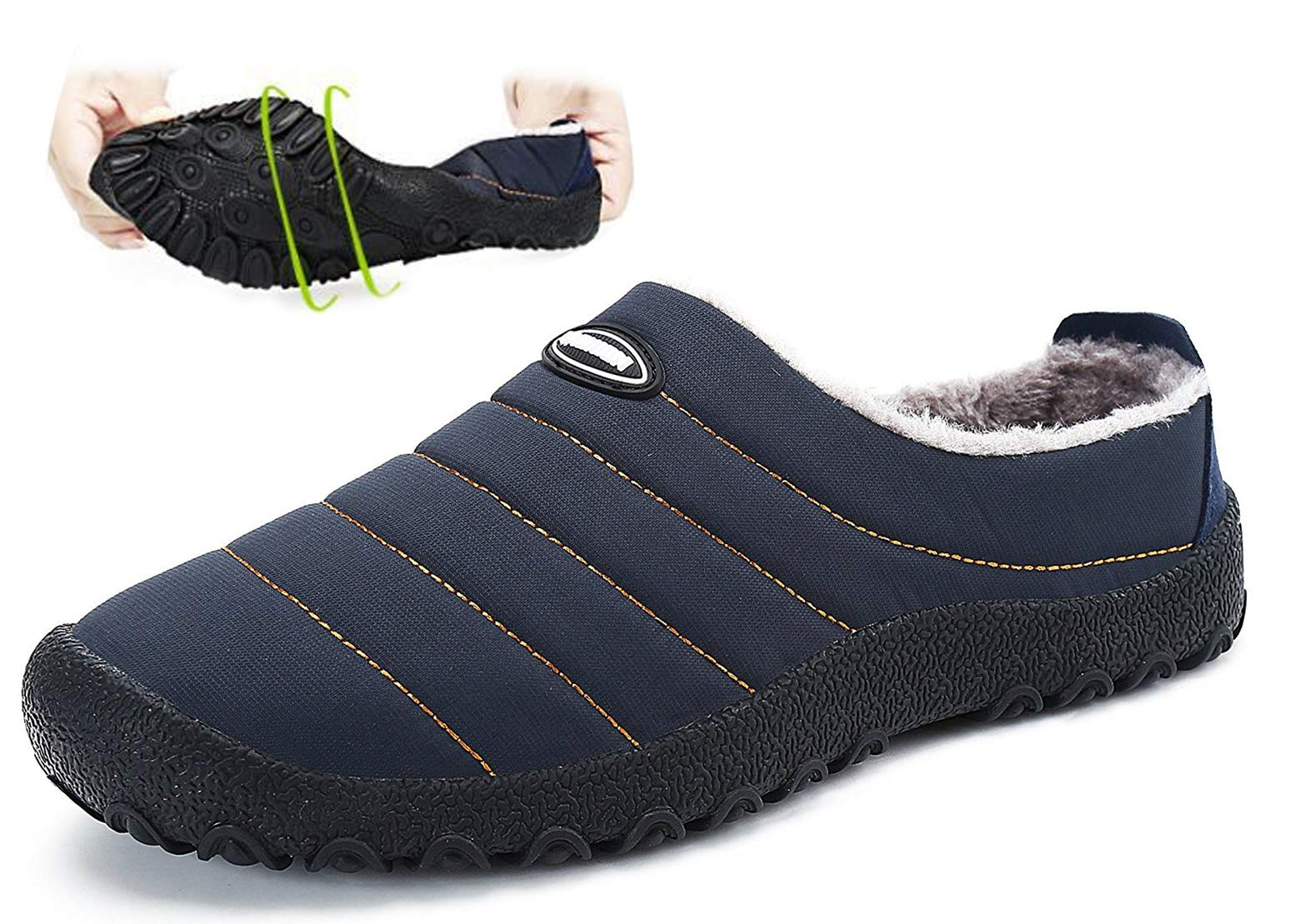 Yoobc Womens Mens Slip on Mule Slippers Winter Fur Lined Waterproof Soft Cotton Shoes