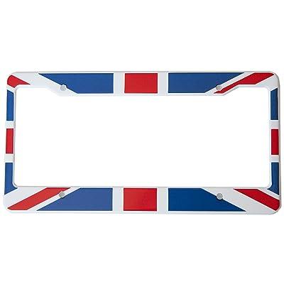 International Tie Flag-Themed License Plate Frame, High Grade 304 Stainless Steel (British): Automotive