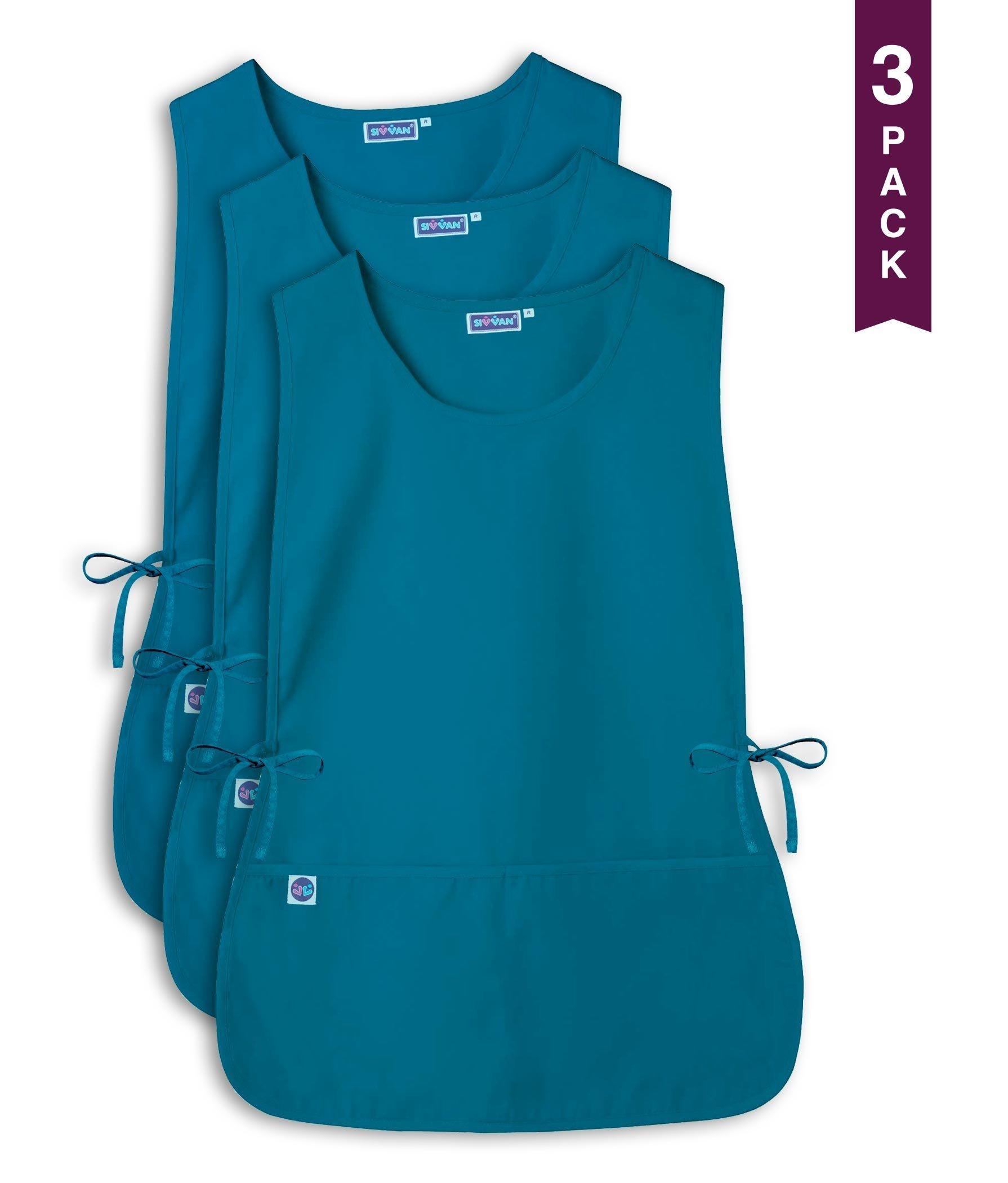 Sivvan Unisex Cobbler Apron - Adjustable Waist Ties, 2 Deep front pockets (3 Pack) - Teal Blue - R