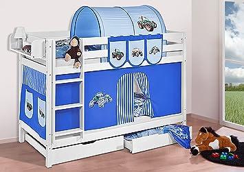 Etagenbett Vorhang Blau : Buche massivholz etagenbett jelle trecker blau hochbett lilokids