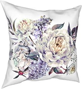 ETHAICO Watercolor Bouquet Made Blooming White Peonies Lilac Foliage,Pillow Cover Plush Fabric Throw Pillow Case Cushion Cover Sea Home Sofa Decorative 18