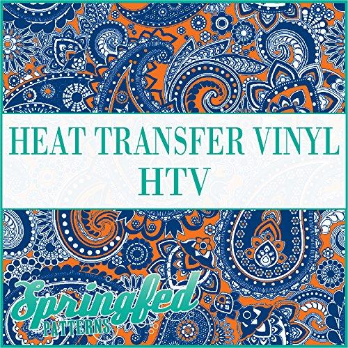 Paisley Pattern #1 in Royal Blue & Orange Heat Transfer Vinyl 12x14 Sheet of HTV for Shirts Springfed Printing