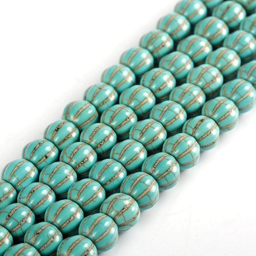 JARTC - Cuentas redondas sueltas para hacer pulseras, collares, piedras de calabaza de color verde natural, 8 pétalos de color verde natural, 10x11mm