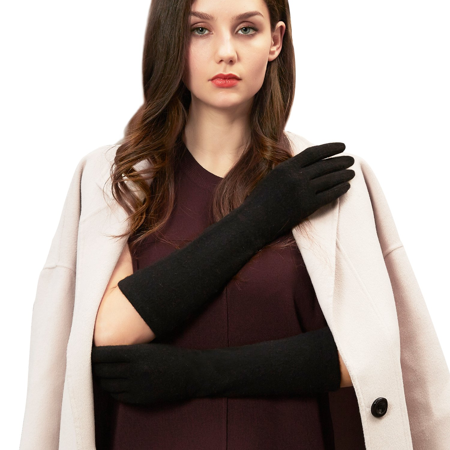 GSG 10.99 Lady Fashion Touchscreen Wool Gloves Arm Warmers Gloves Mittens Women Long Slim Dress Accessory Mother Girlfriend Nice Gifts