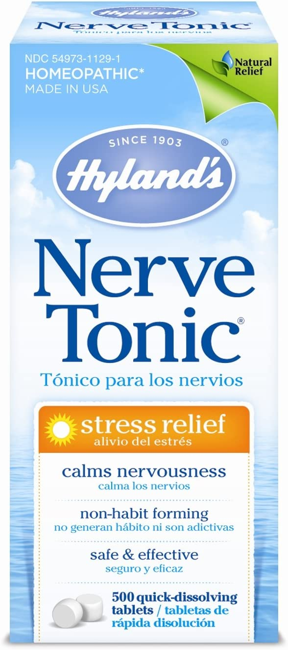 Hyland's Nerve Tonic Stress Relief Tablets, Natural Relief of Restlessness, Nervousness and Irritability Symptoms, Non-Habit Forming, 500 Count: Beauty