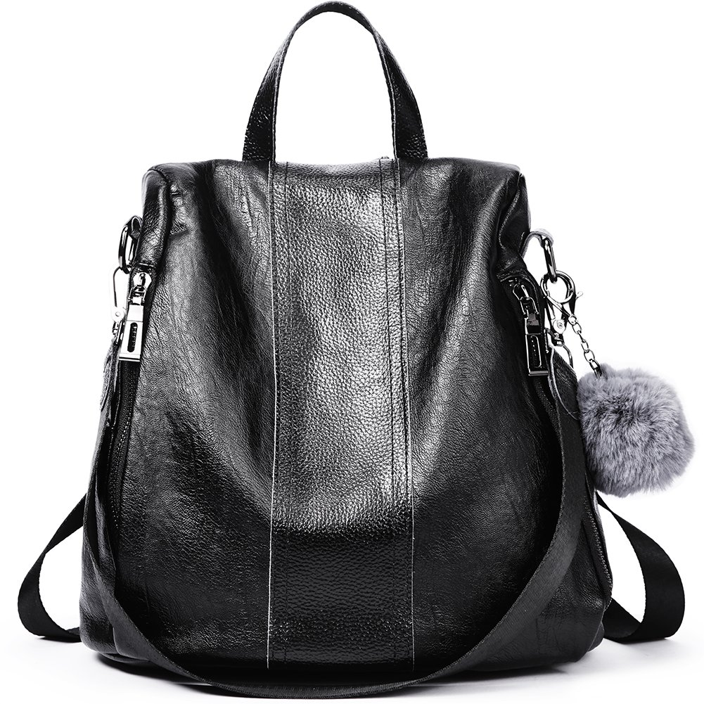 Women Backpack Purse Soft Leather Fashion Anti-theft Ladies Travel Shoulder Bag black