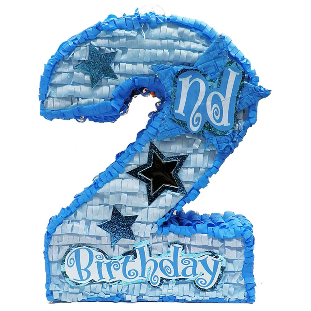 Aztec Imports Number Two Pinata for Boys Second Birthday Party, 20'' Game, Photo Prop and Decoration with Shiny Accents and Star Window