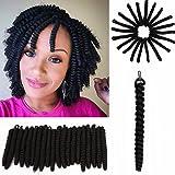 "3 Packs Eunice 10"" 20"" Short Crochet Hair Bouncy Twist Small Curly Crochet Braids 20strands/pack Toni Curl (10 inch toni, black)"