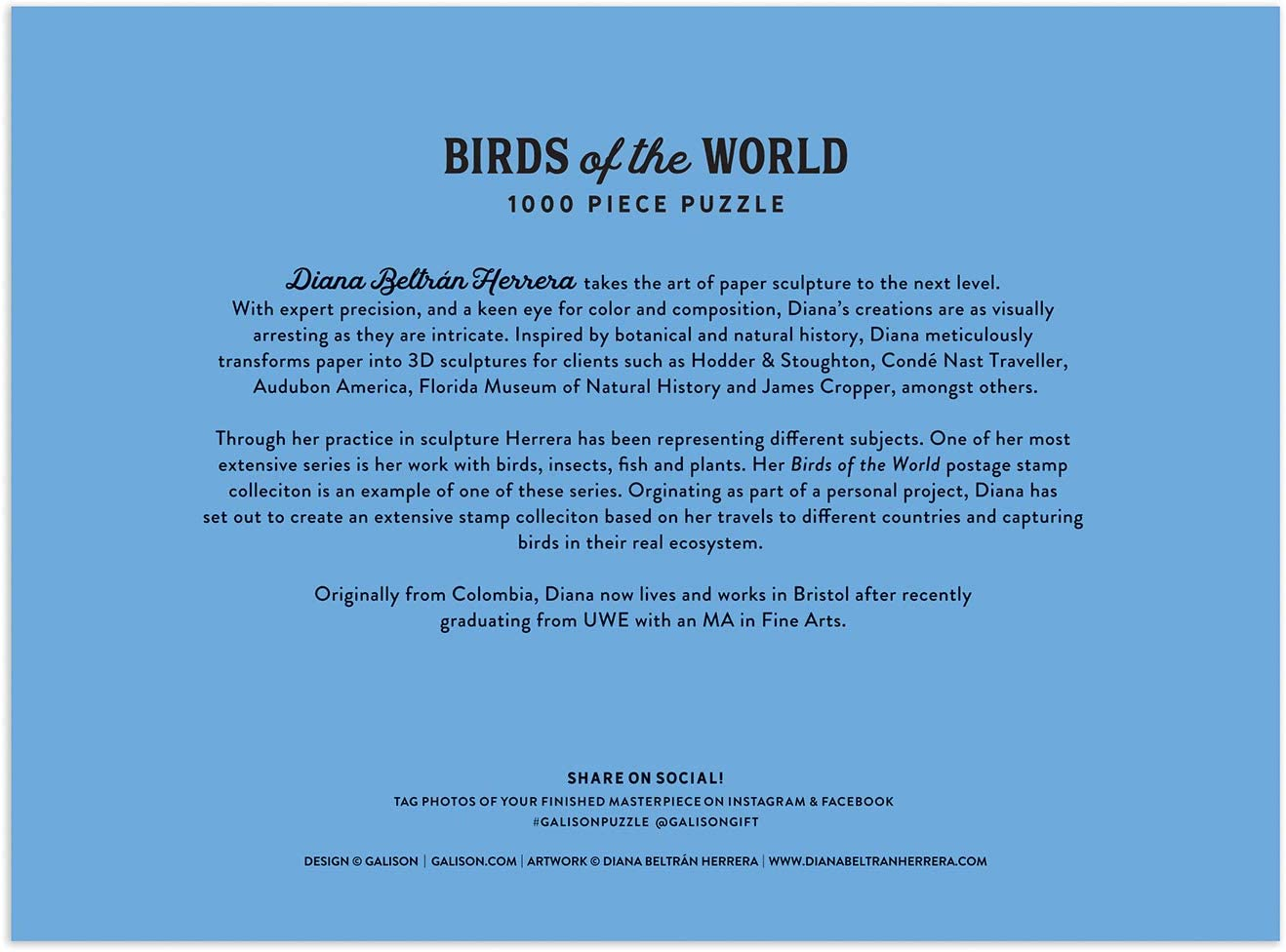 """Challenging Family Activity Makes a Great Gift Galison Birds of The World Puzzle 27/"""" x 20 1,000 Pieces Thick Jigsaw Puzzle Featuring Artwork from Diana Beltr/án Herrera Sturdy Pieces"""