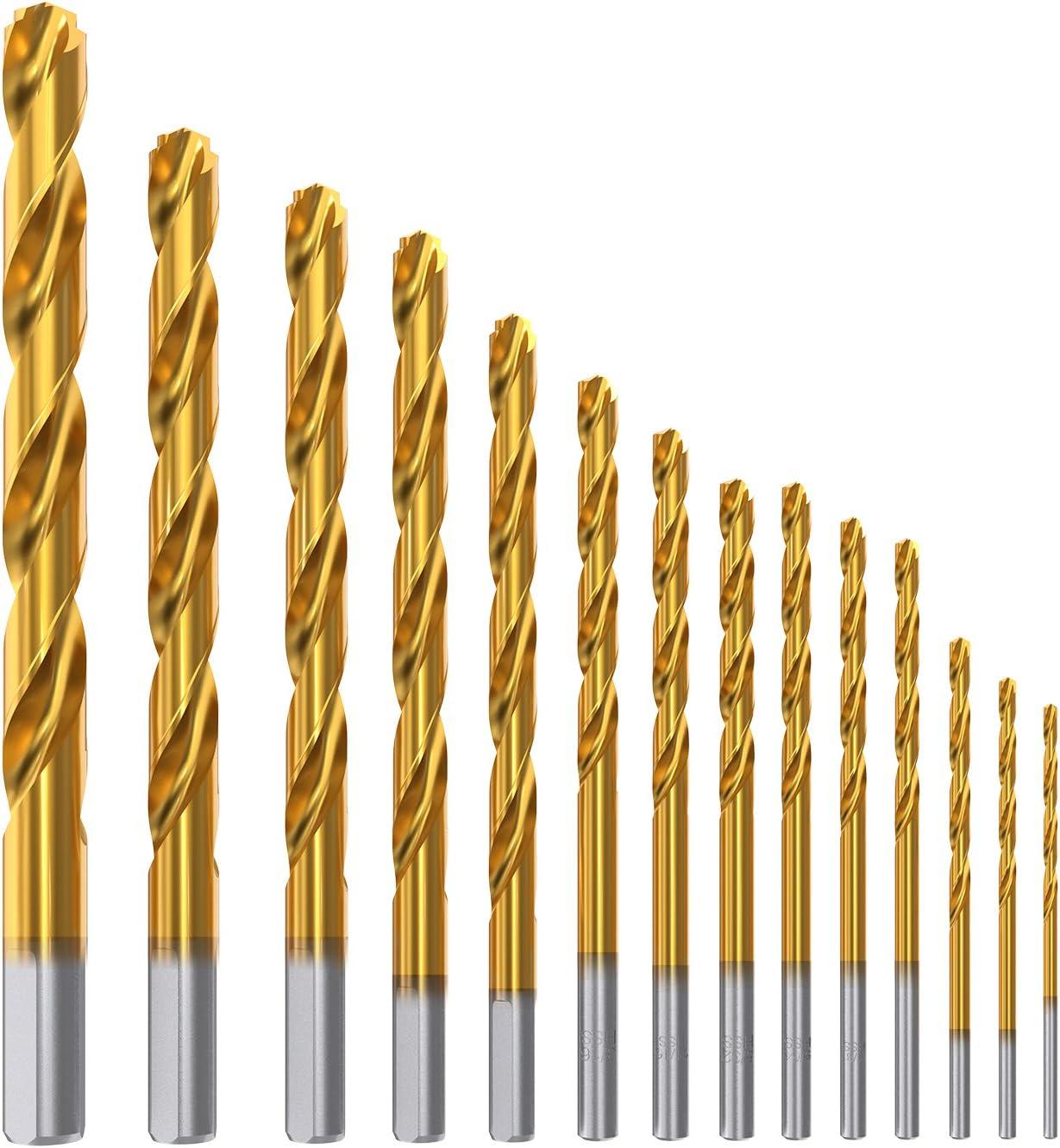 Meterk 14 Piezas Helicoidales Juego de Brocas Taladro de Titanio Acero HSS M2 Poco Brocas 1.6/2 / 2.4/2.8/3.2/3.6/4 / 4.3/4.7/5.5/6.4/7.1/7.8/9.5mm