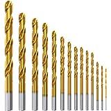 Meterk 14PCS Titanium Drill Bit Set, Made from Titanium Coated High Speed Steel Hardness HRC64-66,Drills Through Concrete, Tile, Brick, Plastic, Wood, Metal etc