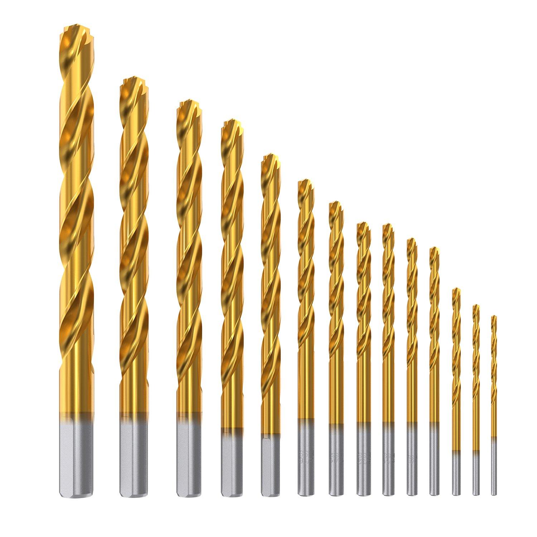 Meterk 14 Piezas Helicoidales Juego de Brocas Taladro de Titanio Acero HSS M2 Poco Brocas 1.6