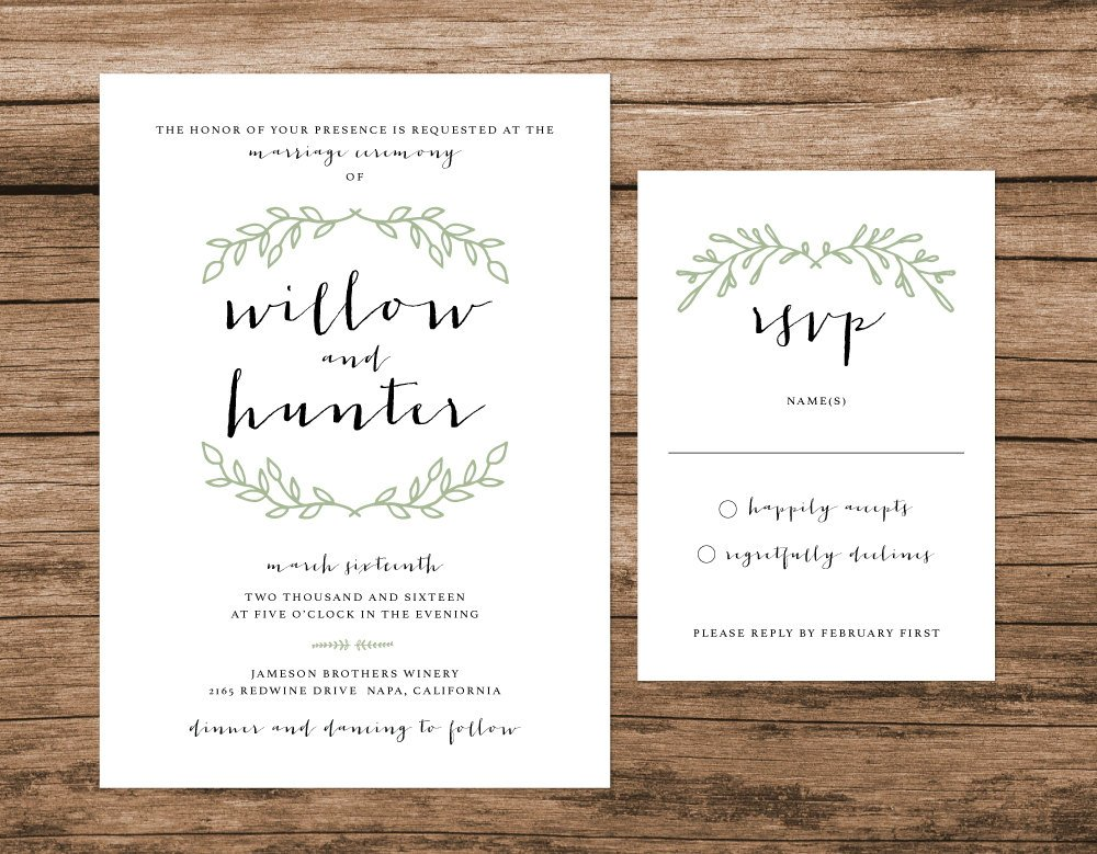 Rustic Wedding Invitation, Green Wreath Wedding Invitation, Simple Boho Wedding Invitation