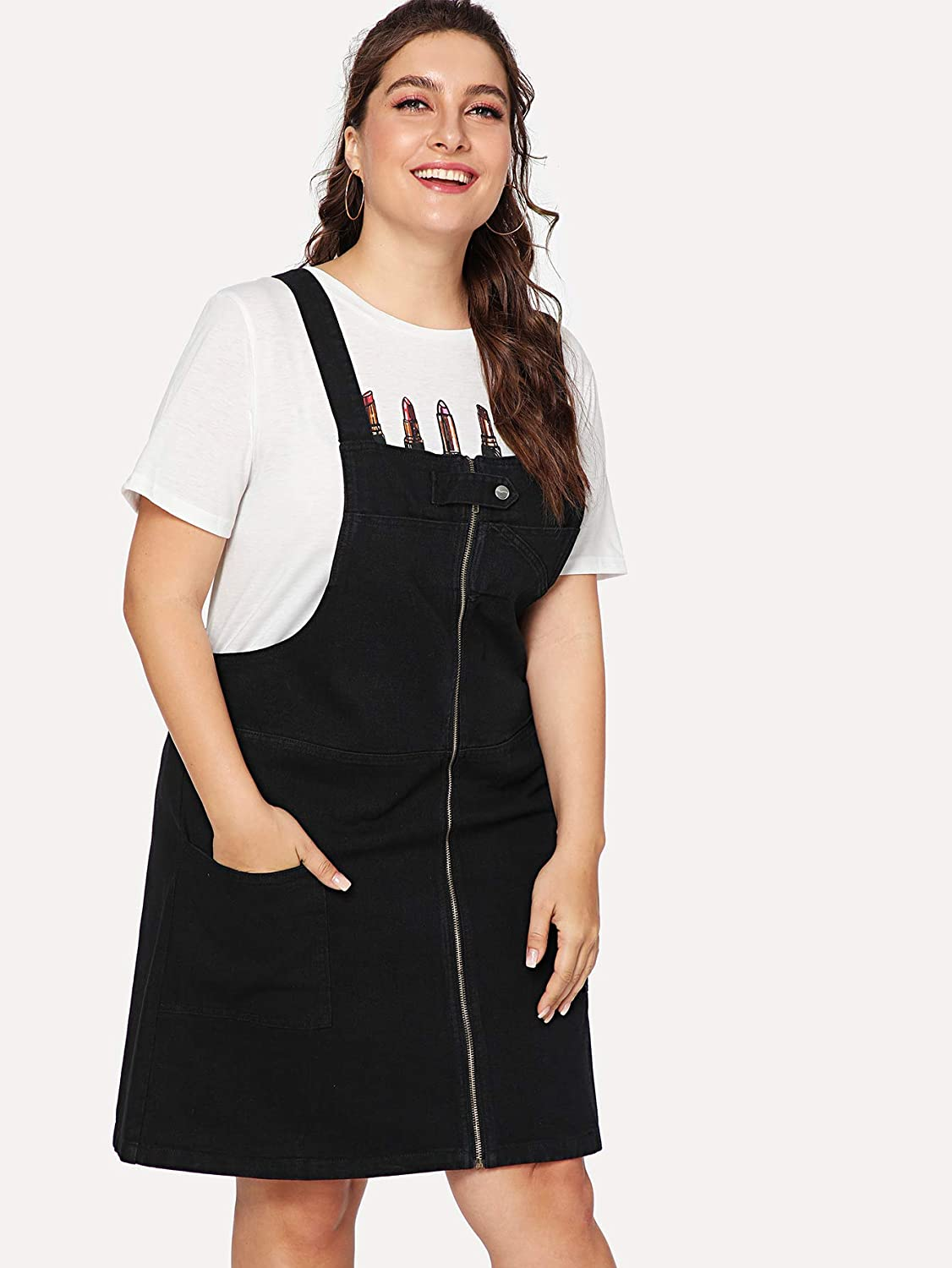 bfcb6df1415 Romwe Women s Plus Size Loose Casual A Line Pocket Pinafore Overall Dress  at Amazon Women s Clothing store