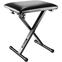 Neewer X-Style Piano Keyboard Bench Stool Chair - Electronic Organ Bench with Leather Pad, Solid Steel Construction, 17-19 inches/43-48 Centimeters Height Adjustable (Black)