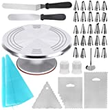 Kootek 35-in-1 Cake Decorating Supplies with Aluminium Alloy Revolving Cake Turntable, 24 Numbered Cake Decorating Tips…