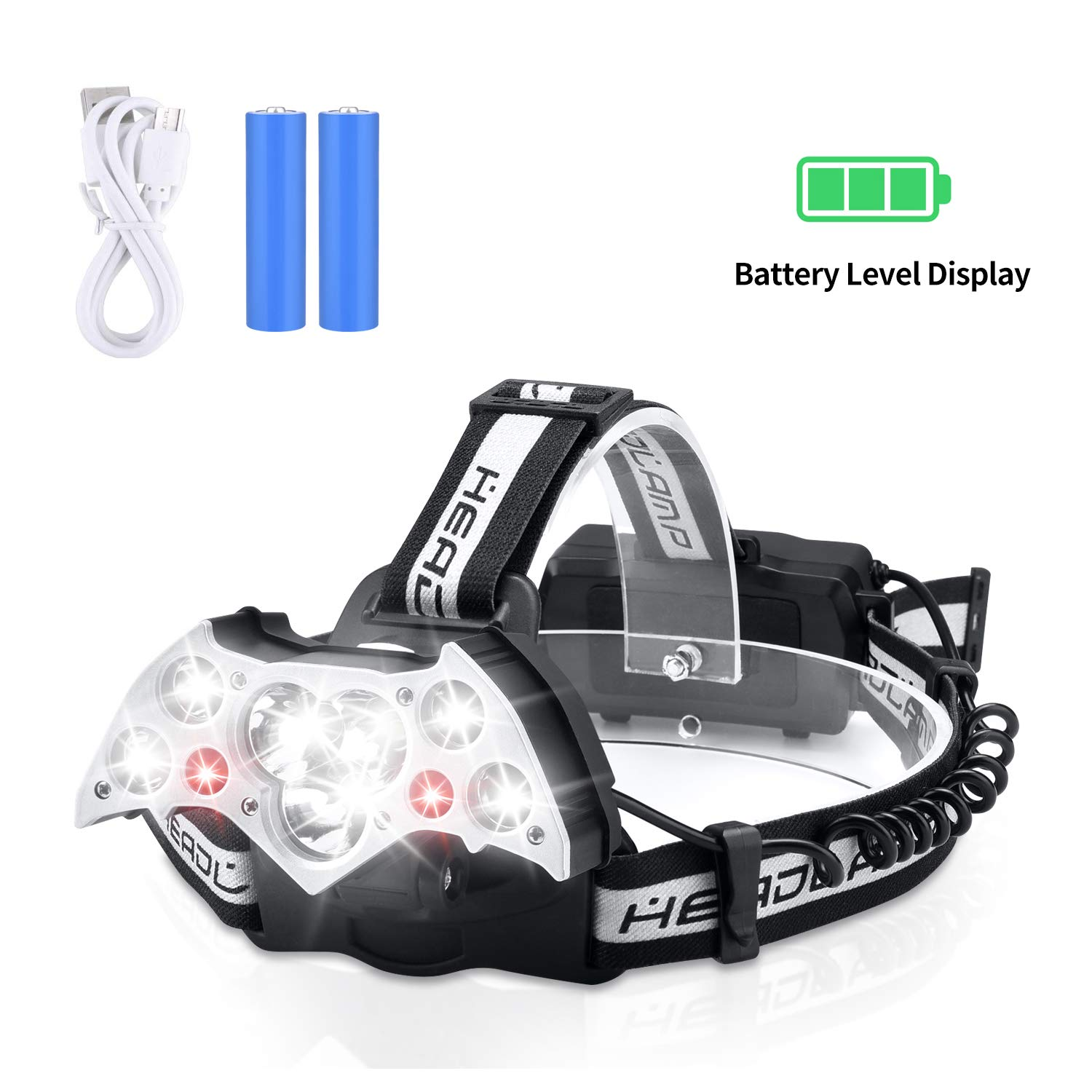 YCTEC 12000 Lumen Bright 9 LED Headlamp Flashlight with White Red Lights, Battery Level Display, Waterproof USB Rechargeable Headlamp with 6 Lighting Modes for Running Camping Cycling