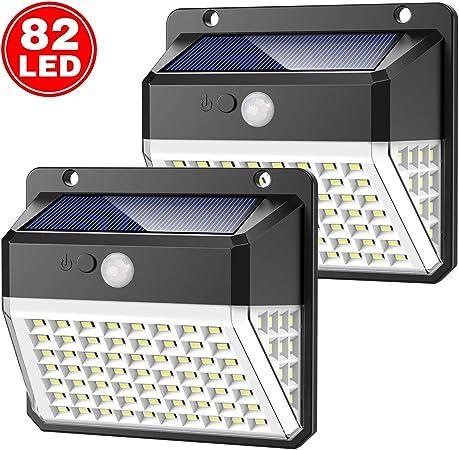 Yacikos Luz Solar Exterior 82 LED, Foco Solar Jardín 2000mAh, Lámpara Solar 270º Gran Angular de Iluminación con Sensor de Movimiento, Luces Solar Impermeable IP65 [2 Piezas]: Amazon.es: Hogar