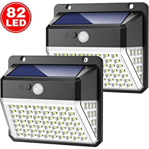 Yacikos Luces Solares Exterior 82 LED, Luz Solar Jardín 2000mAh, Lámparas Solares 270º Gran