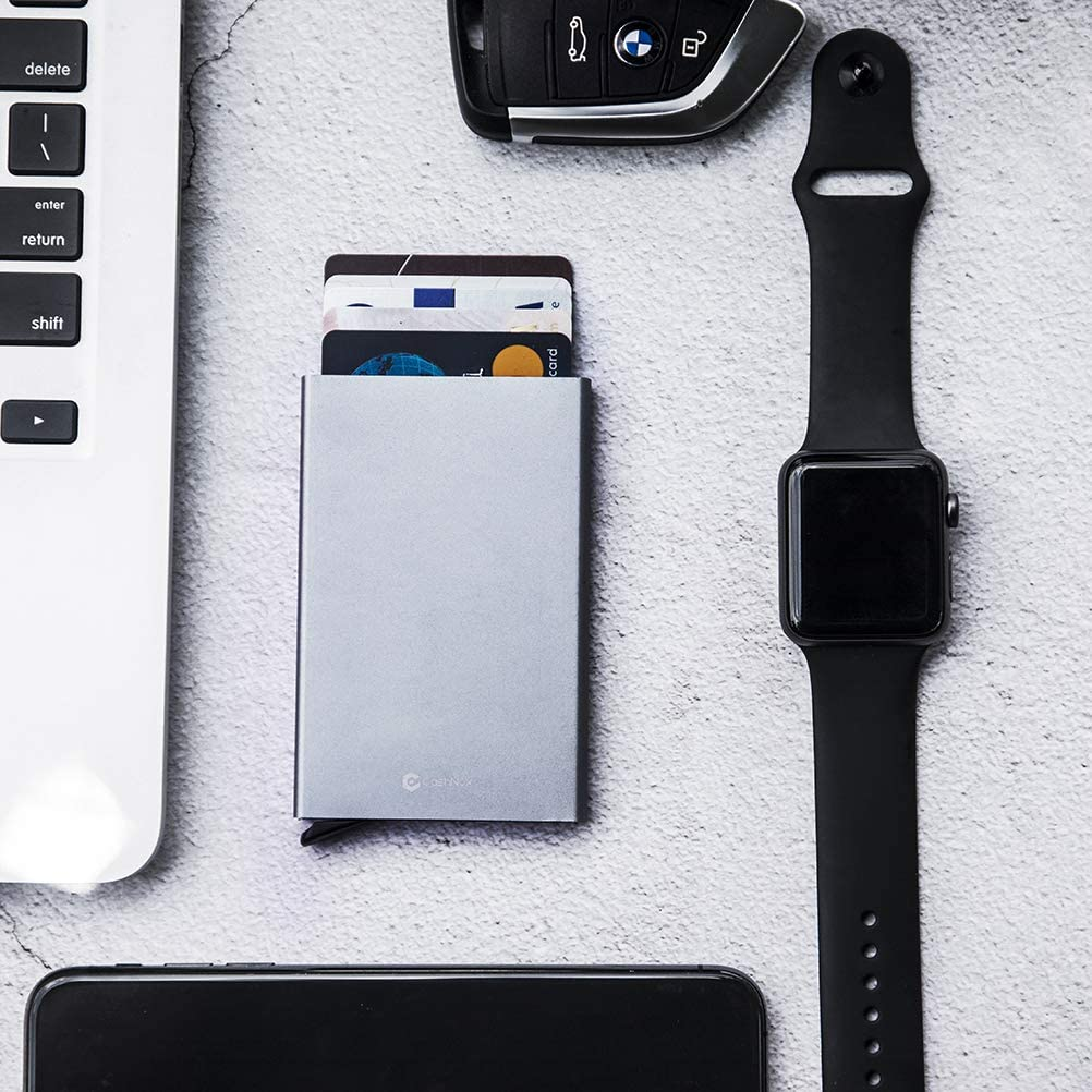Credit Card Holder RFID Blocking Wallet Slim Wallet Aluminum Business Card Holder Automatic Pop-up Card Case Wallet Security Travel Wallet