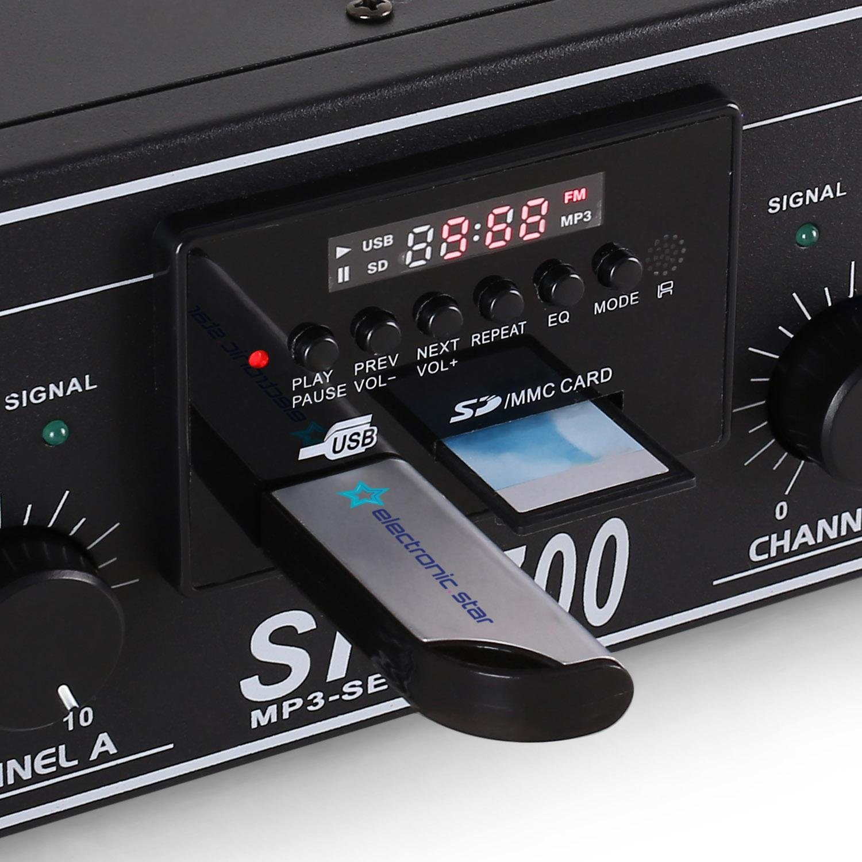 DJ-20 Equipo de Audio PA Amplificador Altavoces Cables (2000W de Potencia, Completo Set para Eventos DJ)