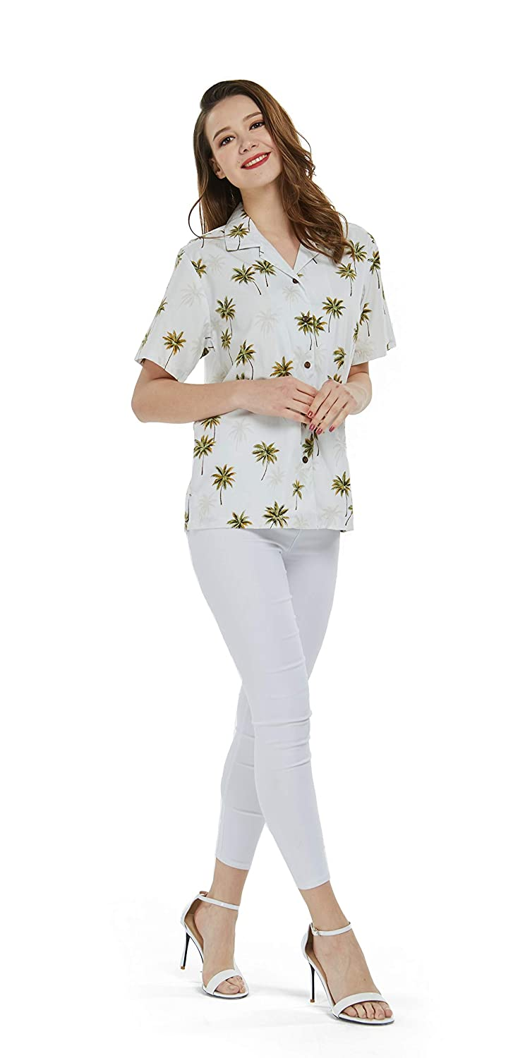 Green Palms in White Made in Hawaii Women's Hawaiian Lady Aloha Shirt in Green Palms in White