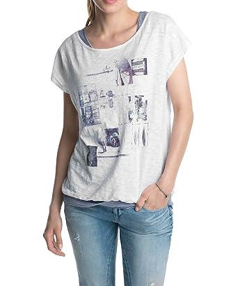 Treffen Großhändler suche nach authentisch ESPRIT Damen T-Shirt 044EE1K012 2in1 fotoprint