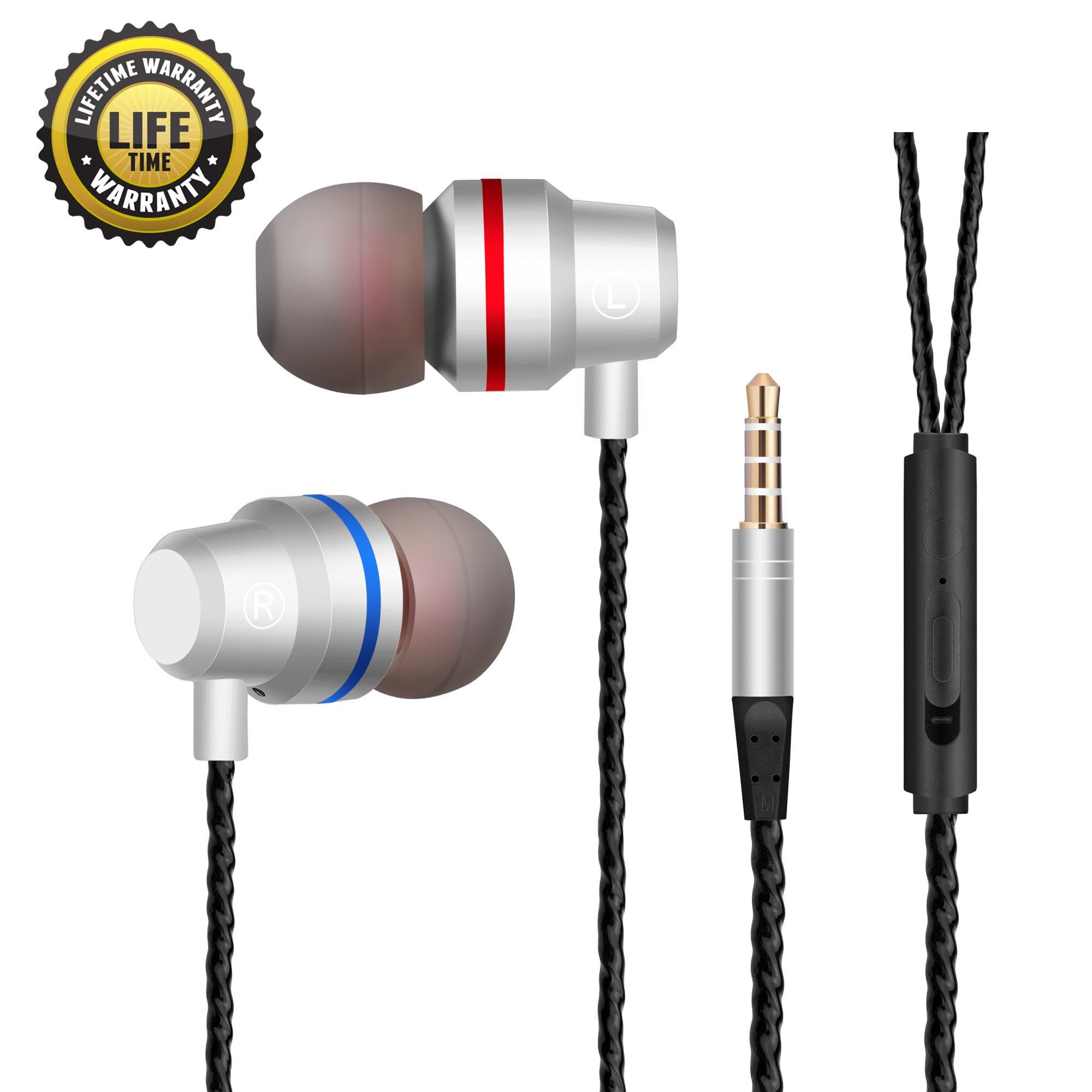 Earphones In Ear Headphones Earbuds with Microphone Mic Stereo and Volume Control Waterproof Wired Earphone For iPhone Samsung Android Mp3 Players Tablet Laptop 3.5mm Audio