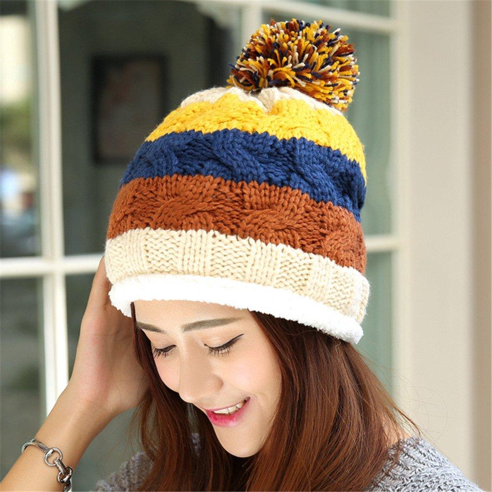 Un sombrero de mujer en el otoño y el invierno cálido con gruesos cashmere lady tejer lana cap juego...