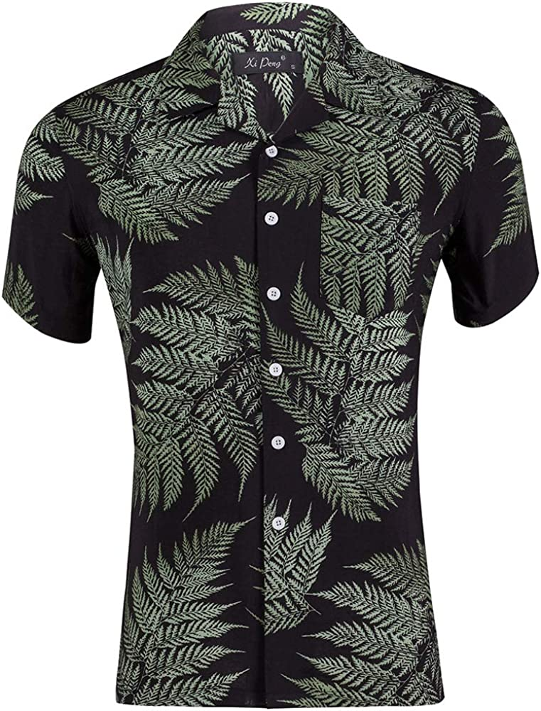 Wildestdream Mens Casual Tencel Cotton Short Sleeve Button Down Hawaiian Shirt